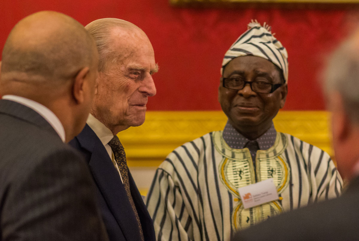 HRH the Duke of Edinburgh with Sallieu Turay, Chief Librarian of Sierra Leone Library Board