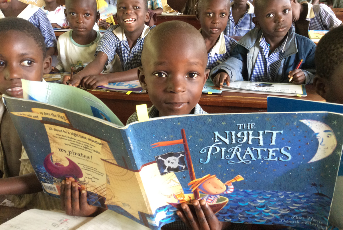 Reading in Ugandan school