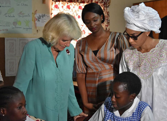 Gambia St Therese's School The Duchess meets readers